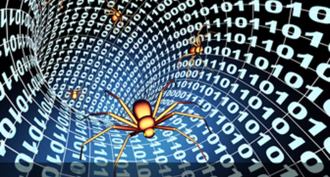 spiders crawl through tunnel of binary numbers