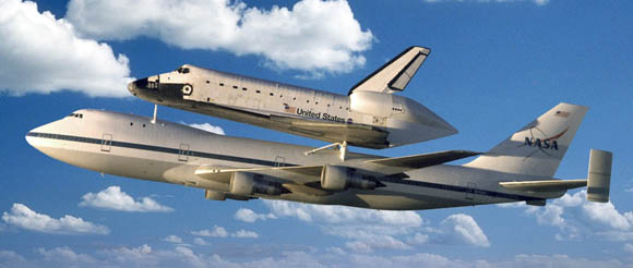 Space Shuttle Discovery aboard NASA's Shuttle Carrier Aircraft
