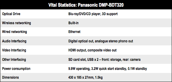 Panasonic DMP-BDT320 3D Blu-ray player