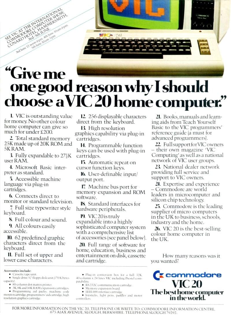 Commodore Vic-20 advert
