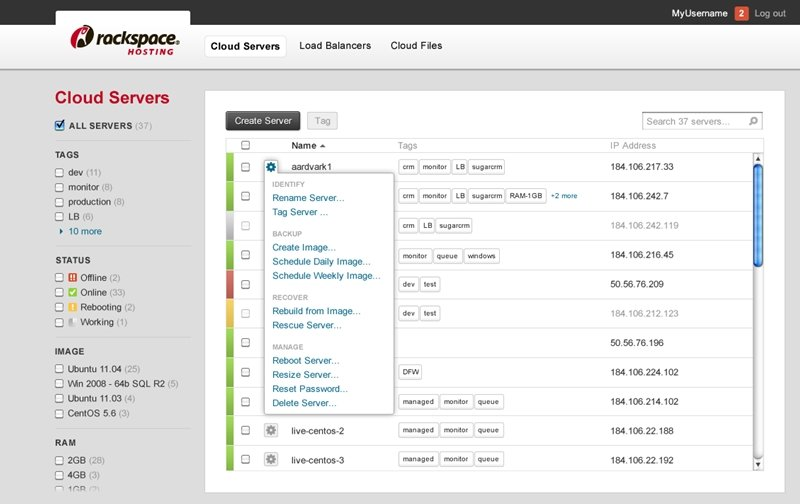 Rackspace Cloud Control Panel