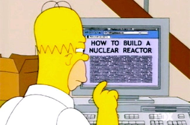 Homer Simpson reading on PC