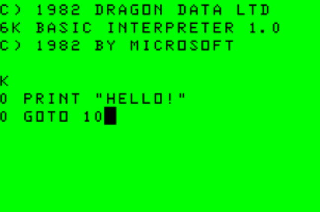 Dragon 32 boot into Basic