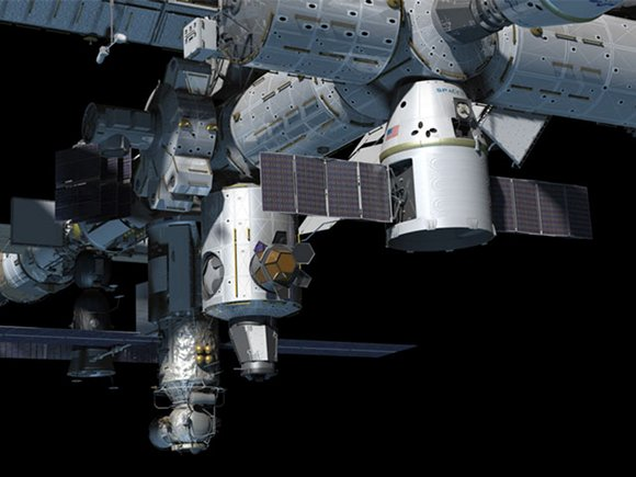 Artist's impression of the Dragon at the ISS