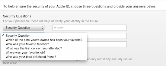 iTunes security question 2