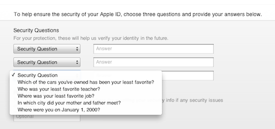 iTunes security question 3