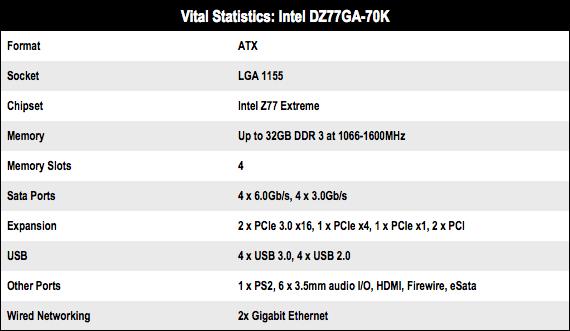 Intel DZ77GA-70K motherboard specs
