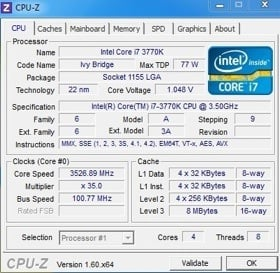 Intel Core i7-3770K processor stock CPU-Z readout