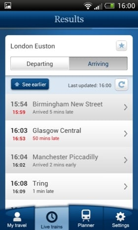 National Rail Enquiries Android app screenshot