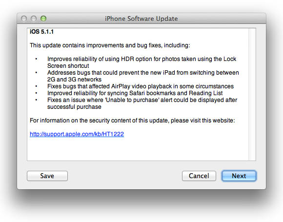 iOS 5.1.1 update information