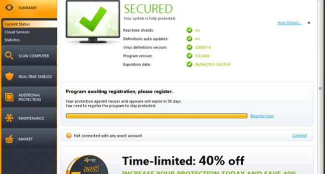 Avast! Free Anti-virus utility