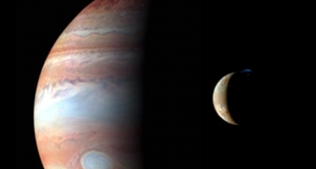 Jupiter and its volcanic moon Io