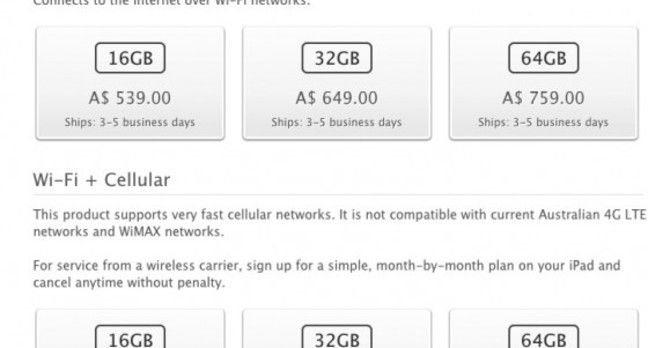 The new wording on Apple's Australian website for the 4G iPad