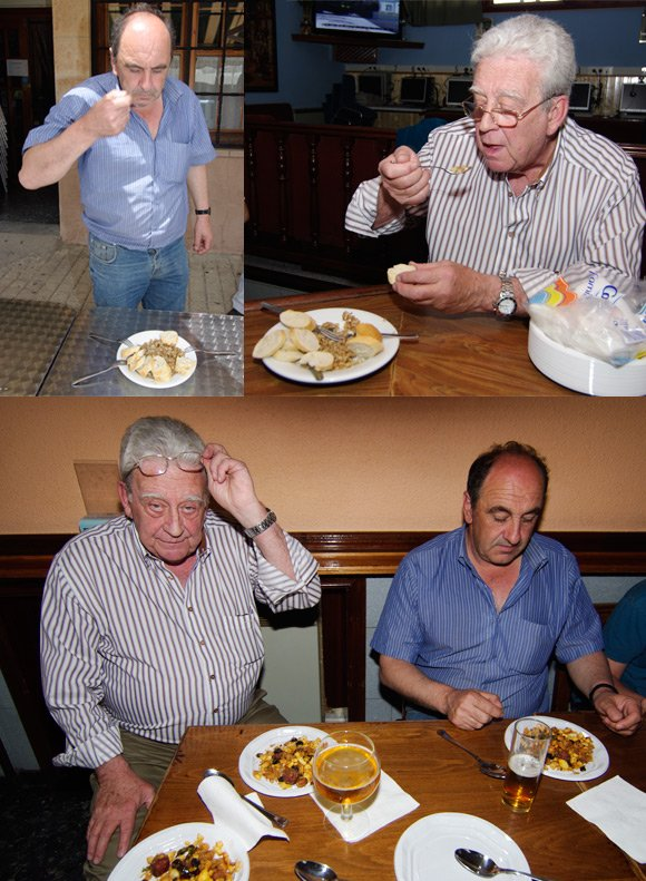 Fernando and Jose Maria Pita try the two deathmatch dishes