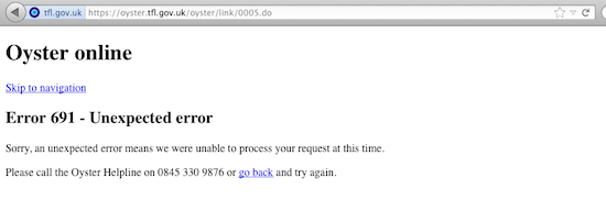Oyster card site, screengrab