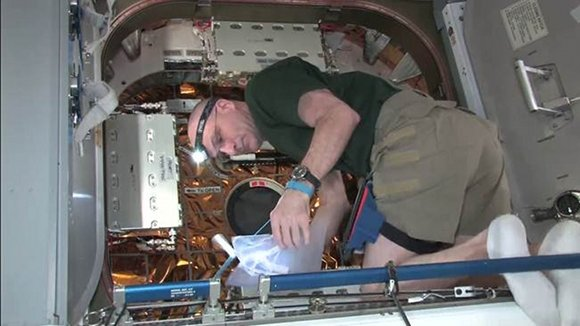 Astronaut Don Pettit opens the Dragon hatch