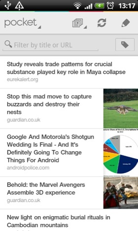 Pocket Android app screenshot