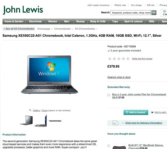 John Lewis promotes Chromebook... running Windows