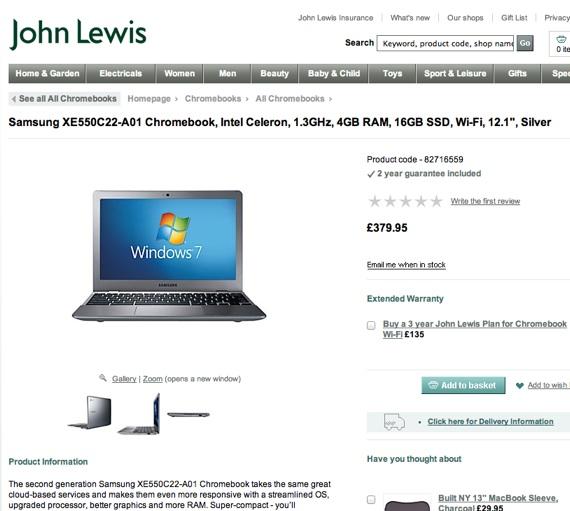 John Lewis promotes Chromebook... running Windows