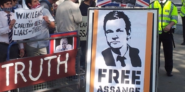 Julian Assange supporters at the Supreme Court London