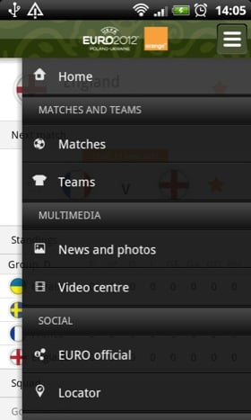 Eufa Euro 2012 app screenshot