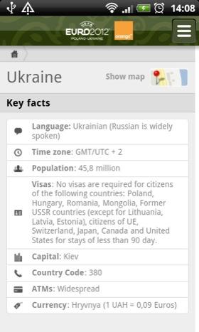 Eufa Euro 2012 app screenshot