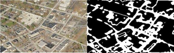 Two images side-by-side, one of a colour aerial photograph of roads and homes, and the other a black-and-white image roughly picking out just the roads and blobs of buildings