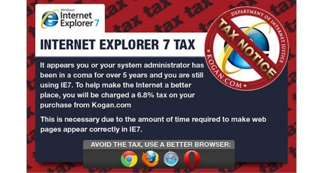 Kogan IE7 tax popup