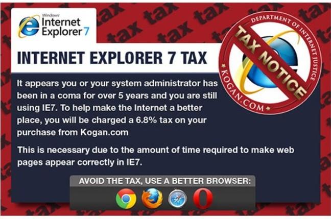 Kogan IE7 tax popup