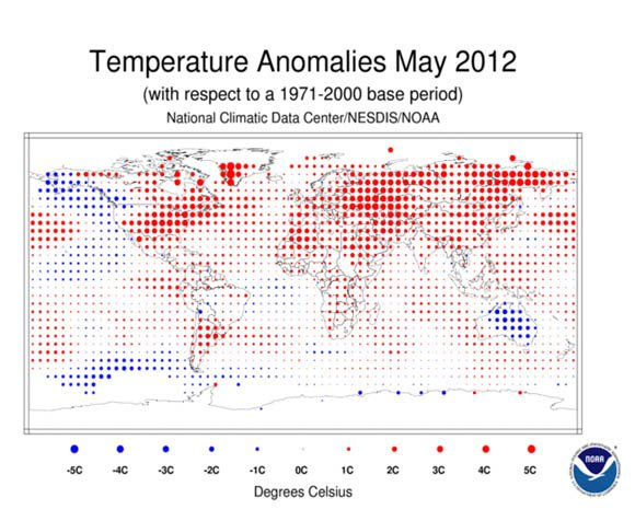 NOAA's May 2012 global temperature anomalies