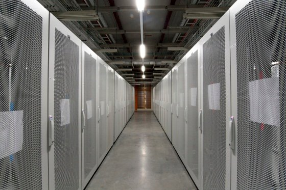 Empty racks awaiting customer kit at HP's Aurora data centre