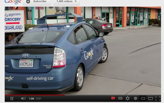 Google Self Driving Car, screengrab youtube video by google