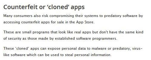 Consumer Affairs Victoria's app store counterfeit app claim