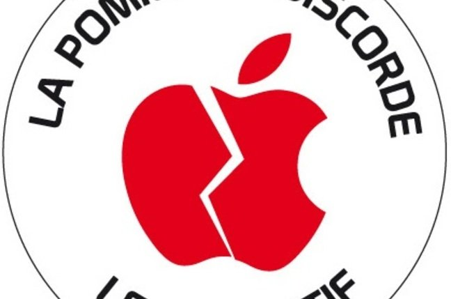 Logo of the La pomme de discorde movment, credit la pomme de discorde