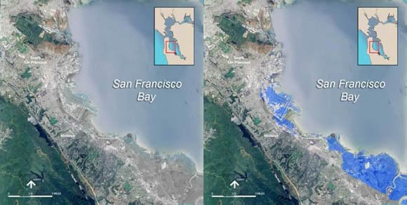 San Francisco Bay and San Francisco International Airport before and after projected seal-level rise