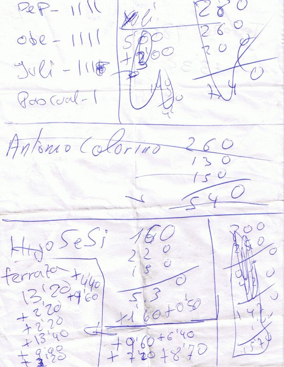 The bar bill in question - a scrap of paper covered in scribbled numbers