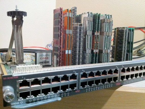 Seattle cityscape made from computer parts