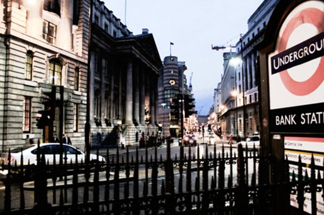 Night scene of bank station in central london