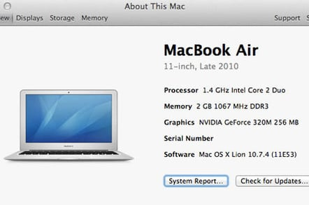 About This Mac > More Info...