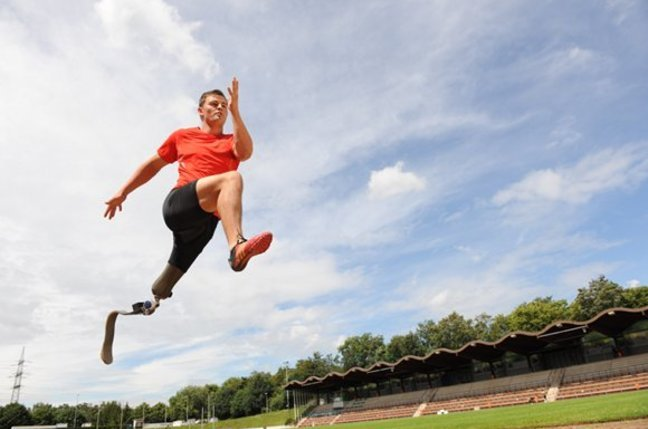 Heinrich Popow, paralympic athlete, truns on his speciallly designed prosthetic leg. Picture courtesy Ottobock healthcare