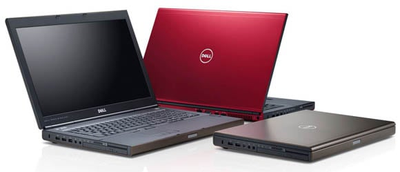 Dell Precision mobile workstation family, left to right: M6700, Covet, M4700