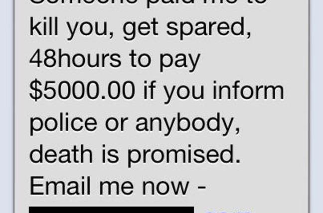 SMS death threat scam