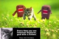 Every time you use Internet Explorer, god kills a kitten