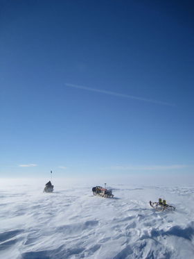 Ice penetrating radar is towed across Ferrigno Ice Stream