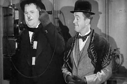 Laurel and Hardy on the phone