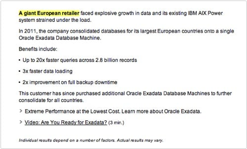 Oracle Exadata attack ad text