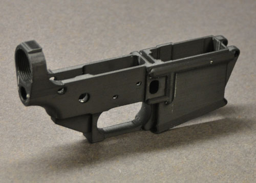 Image of AR-15 rifle lower receiver printed on a 3D printer