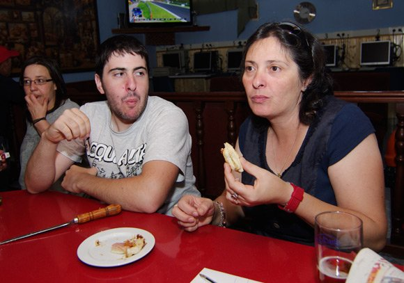 Lourdes and son Diego enjoy a bacon sarnie