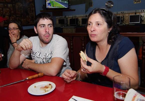 Lourdes and son Diego enjoy a bacon sarnie