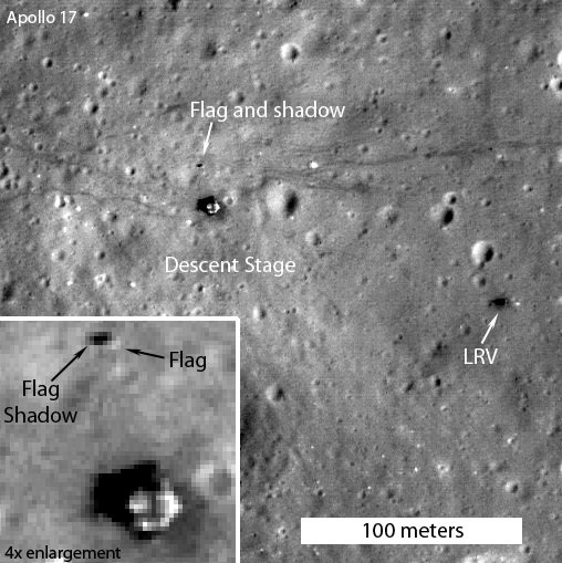 LRO imagery confirming presence of flag at the Apollo 17 landing site. Credit: NASA/GSFC/Arizona State University